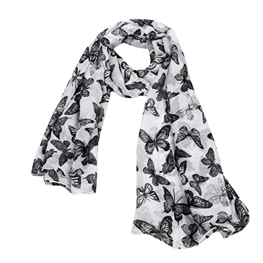 c0cff88c522b6 iHPH7 Neck Scarf, Women Printed Butterfly Satin-Silk Square Shawl at Amazon  Women's Clothing store: