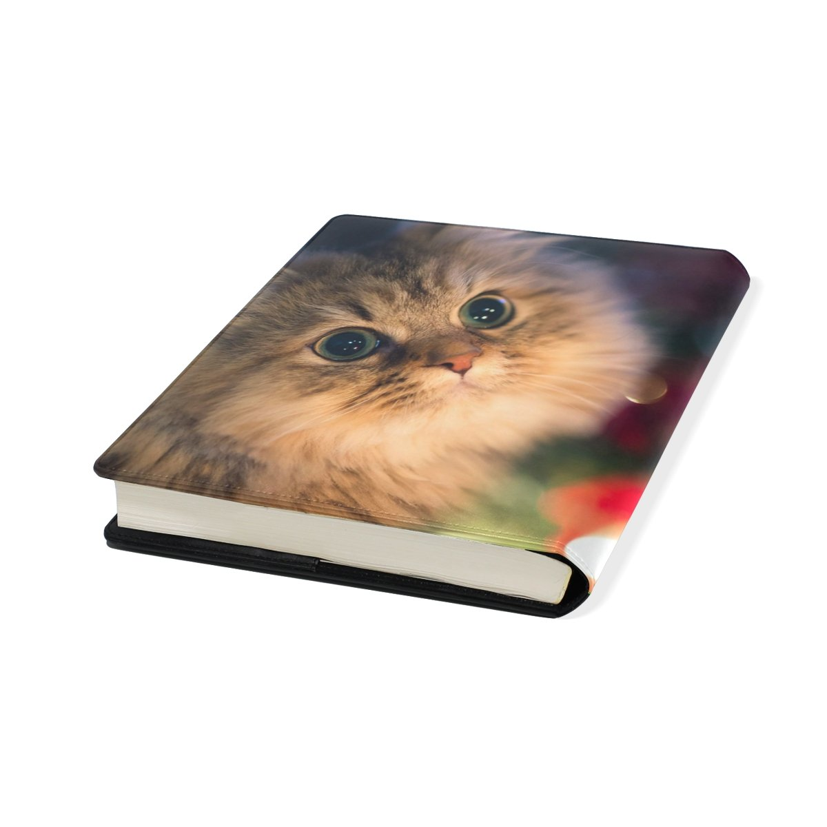 Cat Stretchable Leather Book Covers Standard Size for Student Hardcover Textbooks Fits up to 9x11-Inch for School Girls Boys Gift