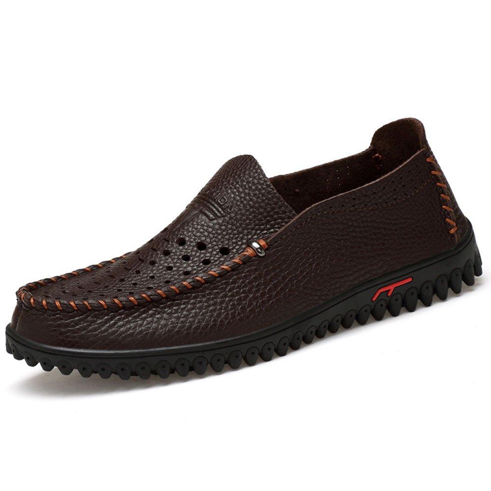 Verano Ahueca hacia Fuera los Zapatos de los Hombres de la Playa Zapatos de Conducción Casuales de Cuero Mocasín 43 1/3 EU|Dark Brown