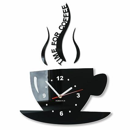 Orologio da parete da cucina tazza LA TAZZINA nera silenzioso ...