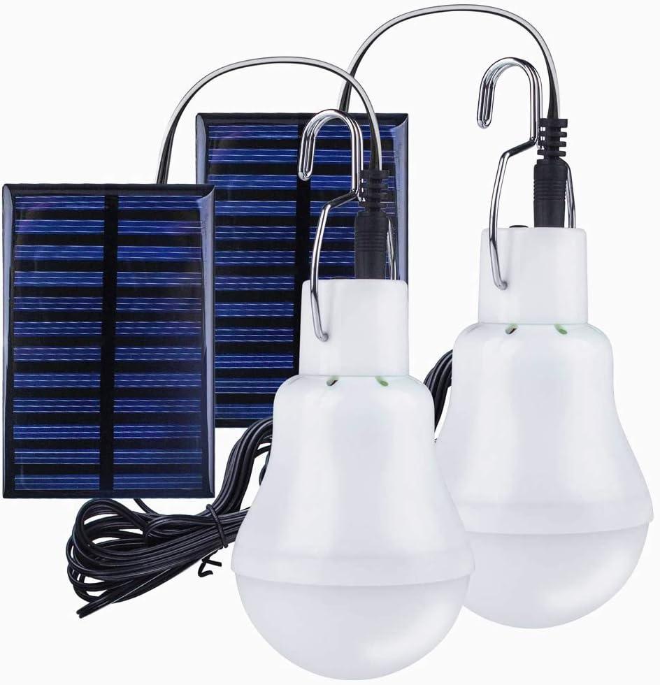 Solar Light Bulb Outdoor Rechargeable,2 Pack Solar Panel Powered Lamp Portable Led Bulb Light for Camping Outdoor Lighting Fishing Camping Chicken coop Lamp Lights (White(2PCs))