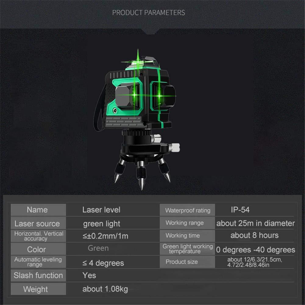 Boomboo Nivel l/áser 3D de 12 l/íneas Autonivelante 360 Horizontal Vertical Cruz Luz Verde//roja Nivel del Suelo Nivelaci/ón Nivelador Impermeable a Prueba de Polvo con tr/ípode y 2 bater/ías