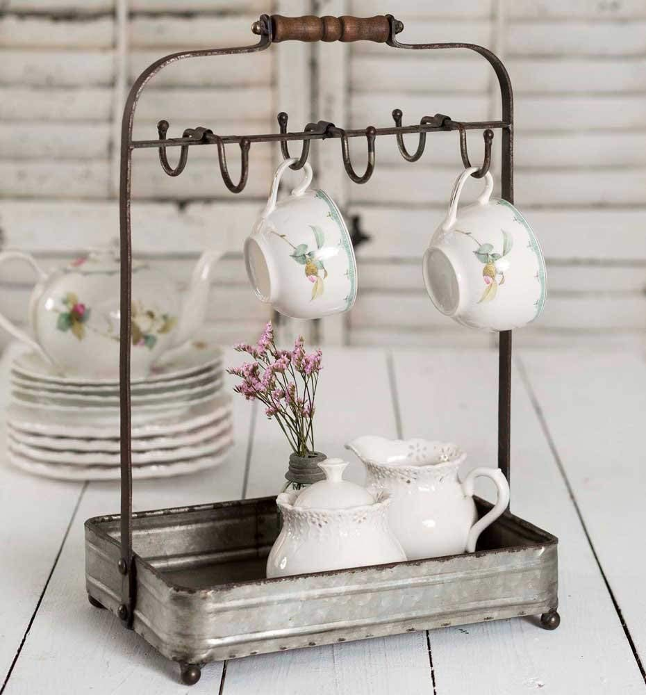 Vintage Rustic Galvanized Tabletop Mug Rack Tea Cup Hook Basket Jewelry Display Colonial Tin Works