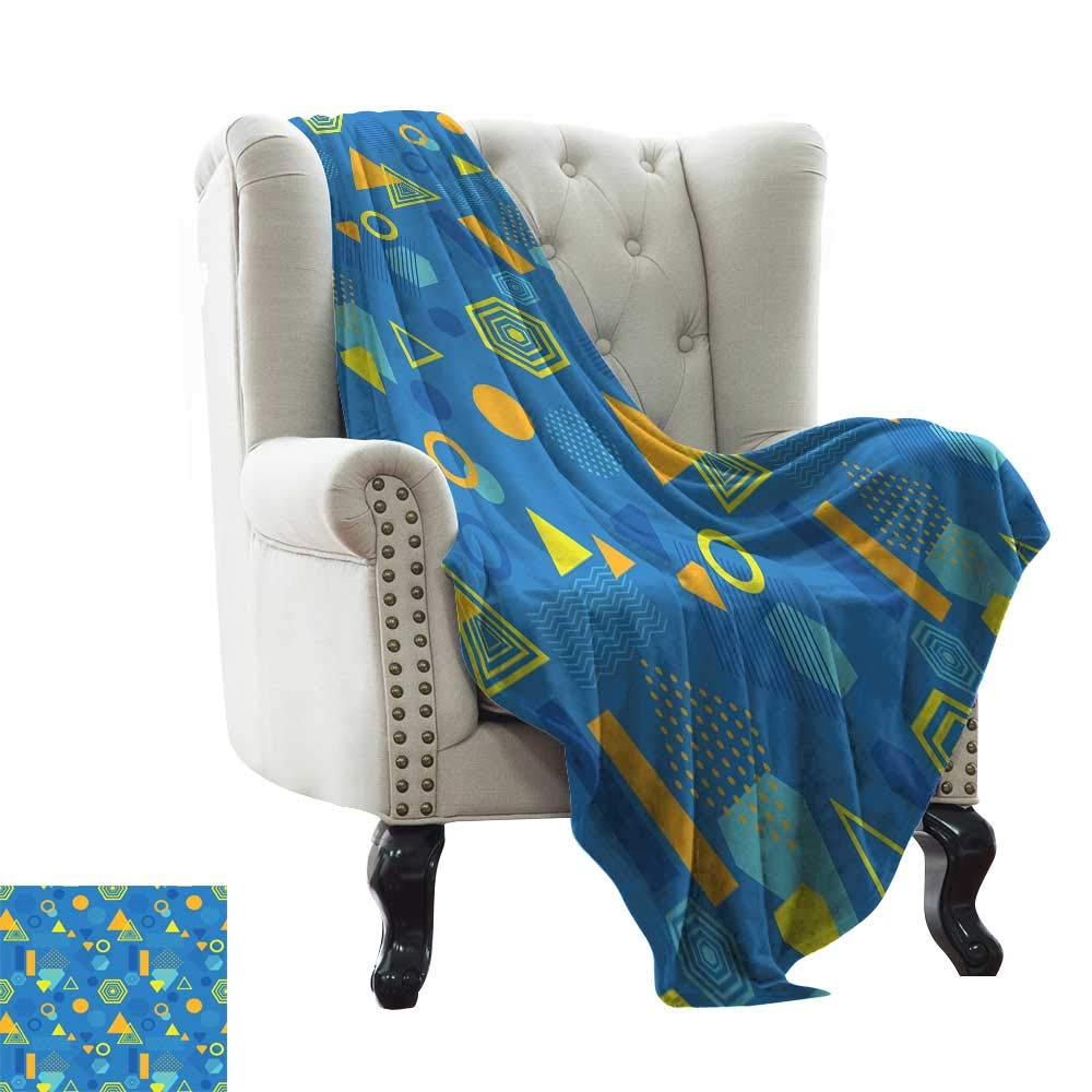 color12 50 x70  Inch BelleAckerman Weighted Blanket for Kids Yellow and bluee,Floral Spring Nature Inspired Pattern Abstract Blossoming Flowers,Light bluee Marigold Soft, Fuzzy, Cozy, Lightweight Blankets 50 x60