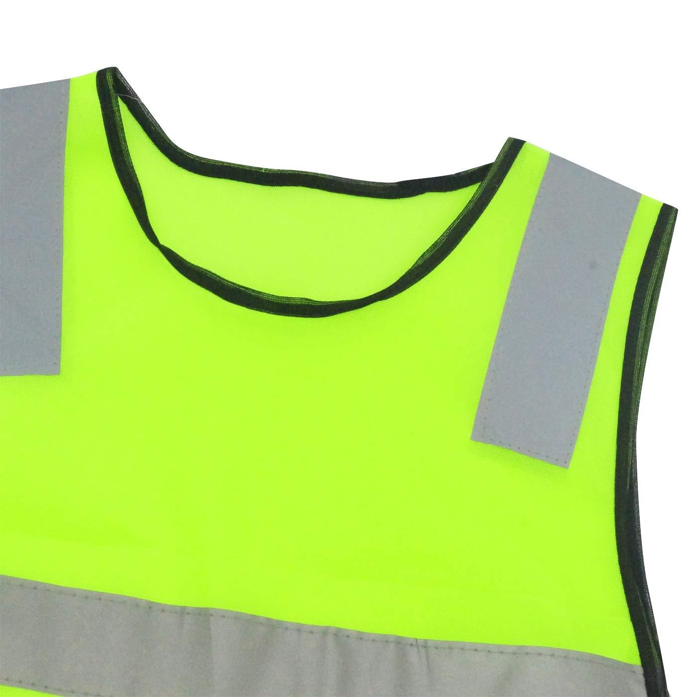AIEOE 15 St/ück Kinder Sicherheitsweste Hohe Sichtbarkeit Reflektierende Westen Klettverschluss Warnwesten f/ür Laufen Radfahren Joggen