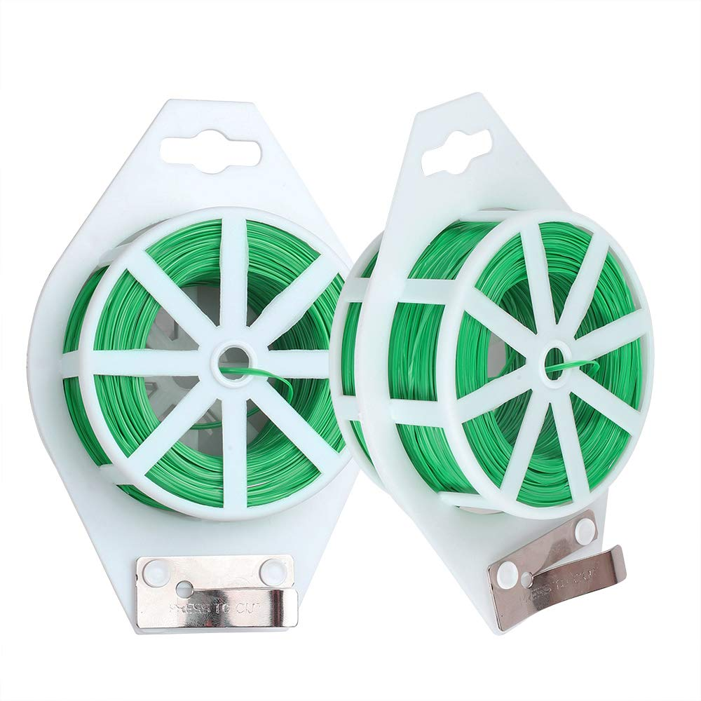 Derlights 2 Reels Twist Ties 328 Feet (Total 200 m), Multi-Function Garden Plant Ties with Cutter for Plants Tomato Vines Support, Cable Ties for Office and Home Cable Organizing