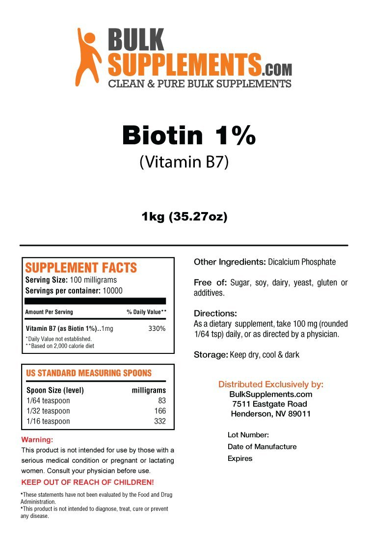 BulkSupplements Biotin 1% (Vitamin B7) Powder (1 Kilogram)