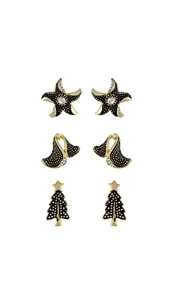 4e74f9516 Buy VAMA FASHIONS Gold & Black Color with Rhinestone Studded Multi-Design  Stud Earing Combo of 3 Pair Stud Earrings for Girls & Women Online at Low  Prices ...