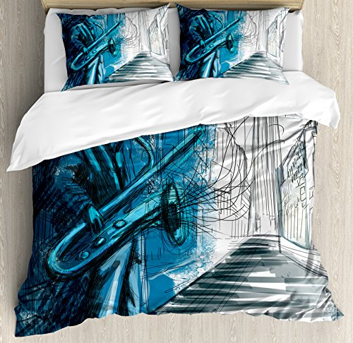 - Ambesonne Music Duvet Cover Set Queen Size, Saxophone Man Playing Solo in Street at Night Vibes Grunge Design Print, Decorative 3 Piece Bedding Set with 2 Pillow Shams, Dark Blue Black White