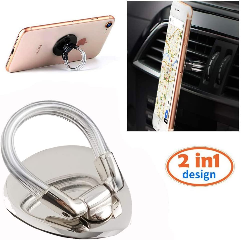 Upgraded 2 in 1 Universal 360/° Rotation Metal Ring Grip for Magnetic Car Mount Compatible with All Smartphone Black Emoly Phone Ring Holder Finger Kickstand