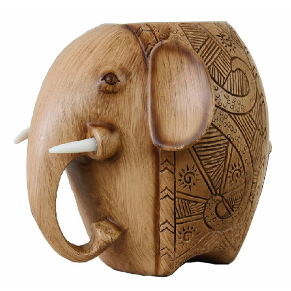 Cute Fashion Creative Wood Carving Carved Elephant Style Pencil Pen Holder (Ivory)