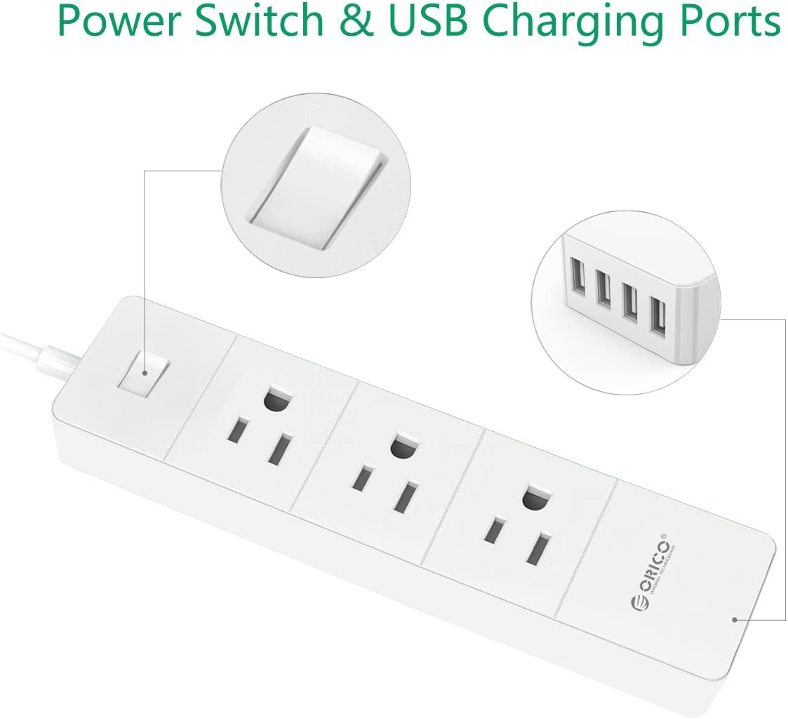 ORICO 3-Outlet Surge Protector Power Strip with 4 USB Smart Charging Port – 5ft Cord, Power Switch 1700J AC Outlet Extender for Home, Travel, Office, College Dorm Rooms – White