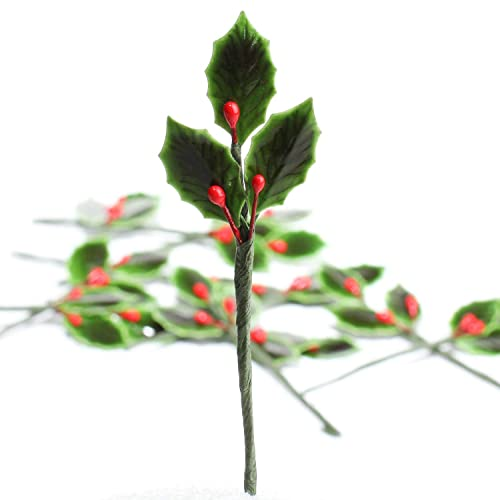 Package of 48 Lacquered Holly Leaves with Bright Red Berry Stems for  Holiday Crafts and Floral - Christmas Holly Decorations: Amazon.com