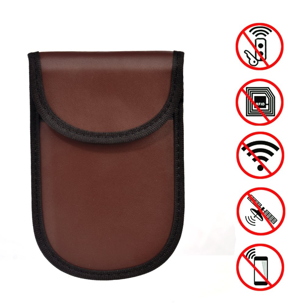 Keyless Car Key Signal Blocker Pouch,Yishik Signal Jamming Bag with RPF for Road Safety Anti-tracking Privacy Security EMF Protection Leather Waterproof Surface(Brown)