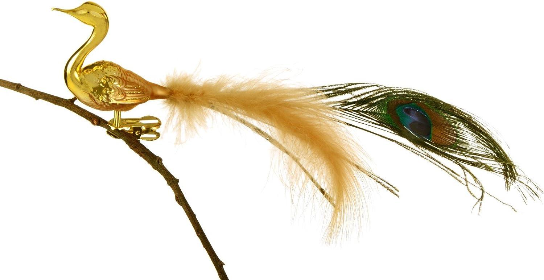 Th/üringer Weihnacht 52-015 Glas-Vogel Pfau mit Pfauenfeder und Goldkr/önchen