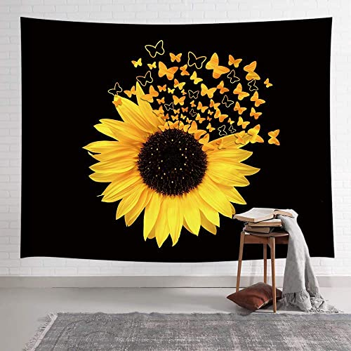 NYMB Sunflowers Tapestry, Sunflowers Butterfly Blooming Wild Flower Tapestry, Spring Rustic Plants Tapestry Wall Hanging for Bedroom Living Room Dorm Farmhouse TV Background, 80X60IN Black and Yellow