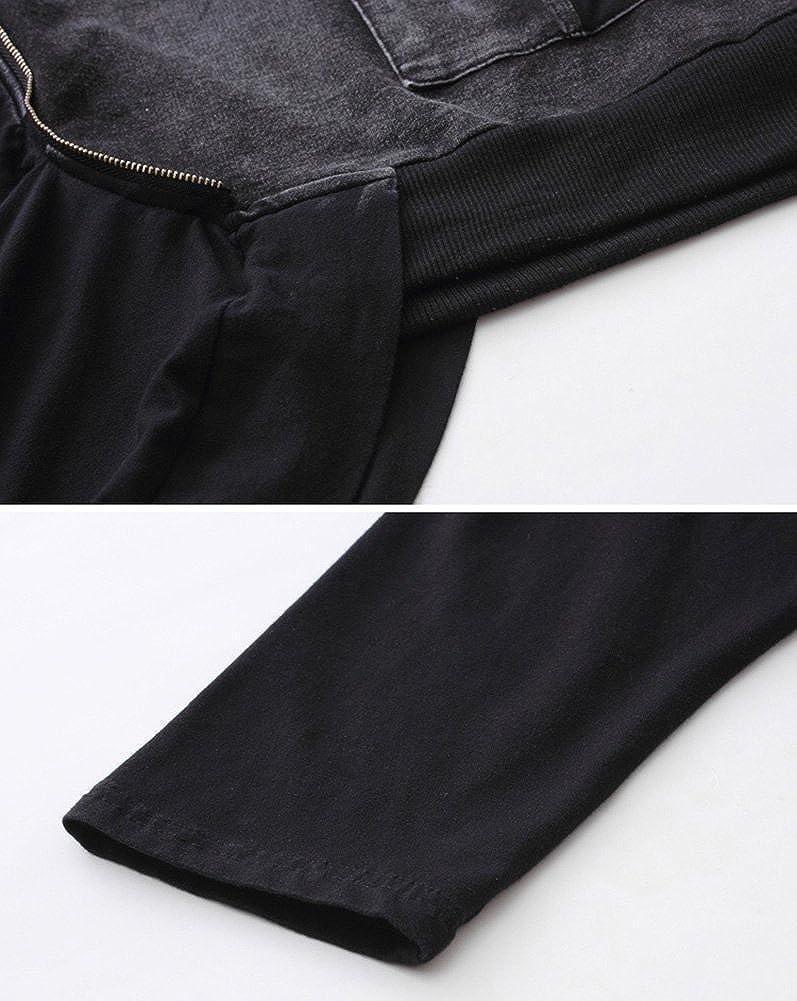 Idopy Pantalons Jeans Slim Fit Punk Style Noir
