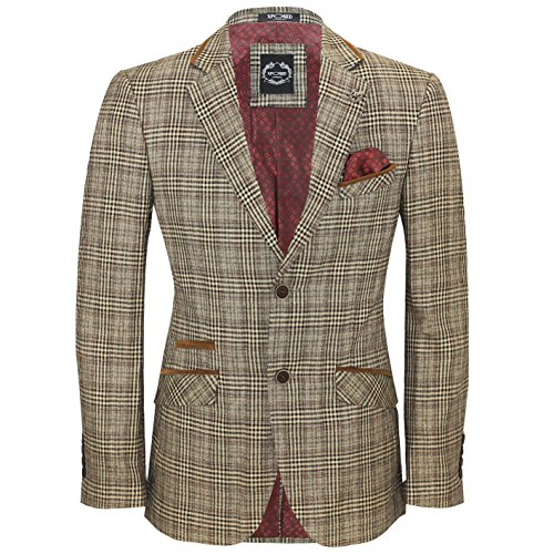 Vintage Blazer Velvet (XPOSED Mens Vintage Tweed Herringbone Check Blazer Brown Grey with Velvet Collar Elbow Patch Jacket [Light Oak Brown,Chest UK 42 EU 52])