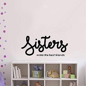 "Vinyl Wall Art Decal - Sisters Make The Best Friends - 16"" x 37"" - Motivational Quote Words - Girls Bedroom Nursery Wall Decor- Trendy Modern Wall Sticker Decals"