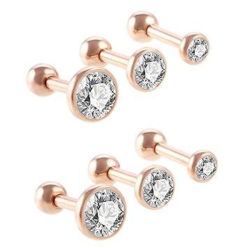Stainless Steel Zircon Barbell Ear Stud Tragus Cartilage Helix Earrings~Piercing
