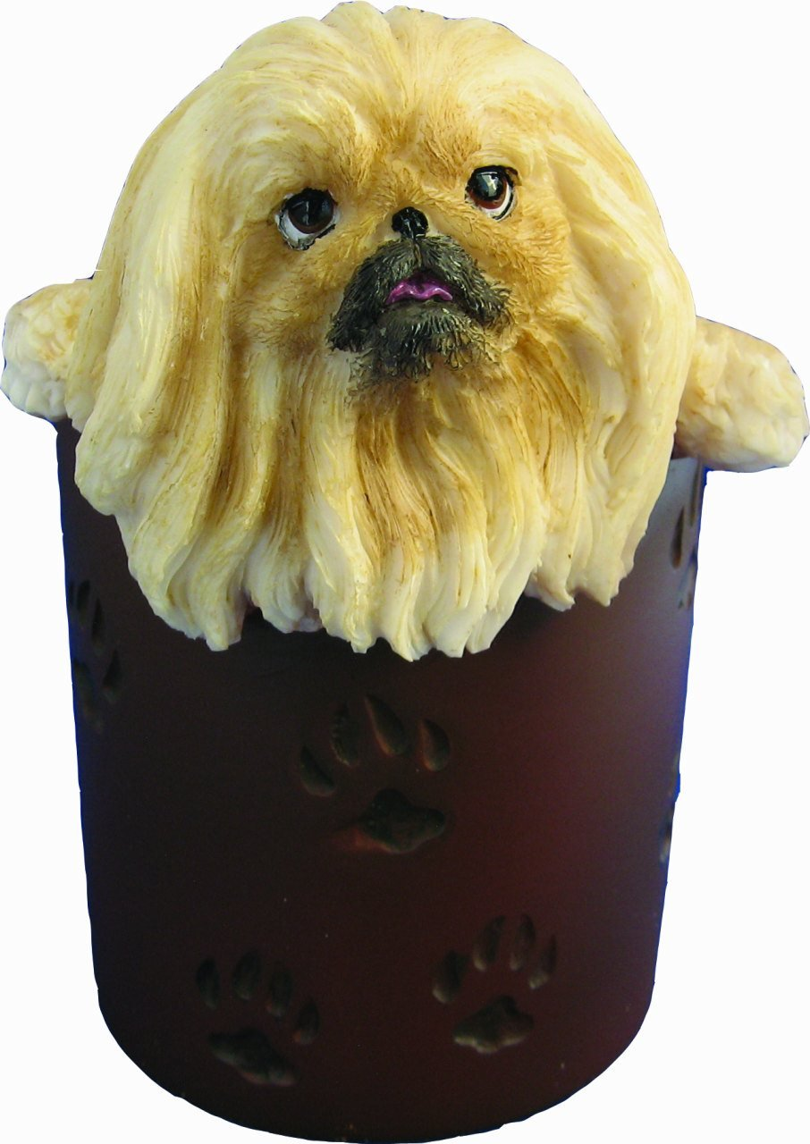 Pekingese Pencil Cup Holder with Realistic Hand Painted Pekingese Face and Paws Hanging Over Cup, Uniquely Designed Pekingese Gifts, A Convenient Organizer for Home or Office, One Of A Kind Pen Holder