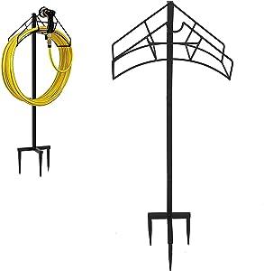 KDD Garden Hose Holder, Free Standing Metal Water Hose Stand Heavy Duty Flexible Pipe Storage Hanger Organizer