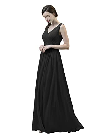 34a290e80a9 AWEI Women s V-Neck Bridesmaid Dresses Long Formal Dresses Chiffon ...