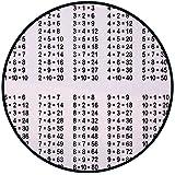 Printing Round Rug,Educational,Multiplication Table on White Background Mathematics Algebra School Student Decorative Mat Non-Slip Soft Entrance Mat Door Floor Rug Area Rug For Chair Living Room,Black