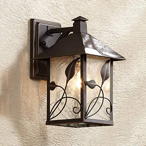 Medium Bronze Outdoor Wall - French Garden Rustic Farmhouse Outdoor Wall Light Fixture Bronze Lantern 10 1/2