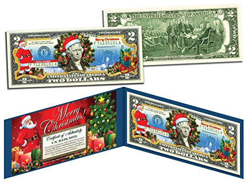 (MERRY CHRISTMAS Colorized $2 Bill U.S. Legal Tender SANTA SLEIGH Jingle Bucks)