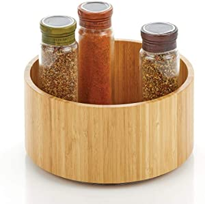 mDesign Bamboo Wood Lazy Susan Turntable Food Storage Container for Cabinets, Pantry, Refrigerator, Countertops, Spinning Organizer for Spice Bottles Jar, Condiments, Baking - 9