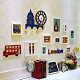 Uncle SamLI@ 10 Multi Photo Frames Set Modern British Style Bedroom Study Living Room Dining Room Children's Room Creative Wall Combination (Color : A)
