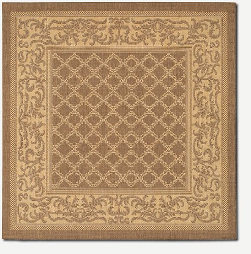 Couristan Cocoa Garden Lattice (Couristan 1016/3000 Recife Garden Lattice/Cocoa-Natural 8-Feet 6-Inch Square Rug)