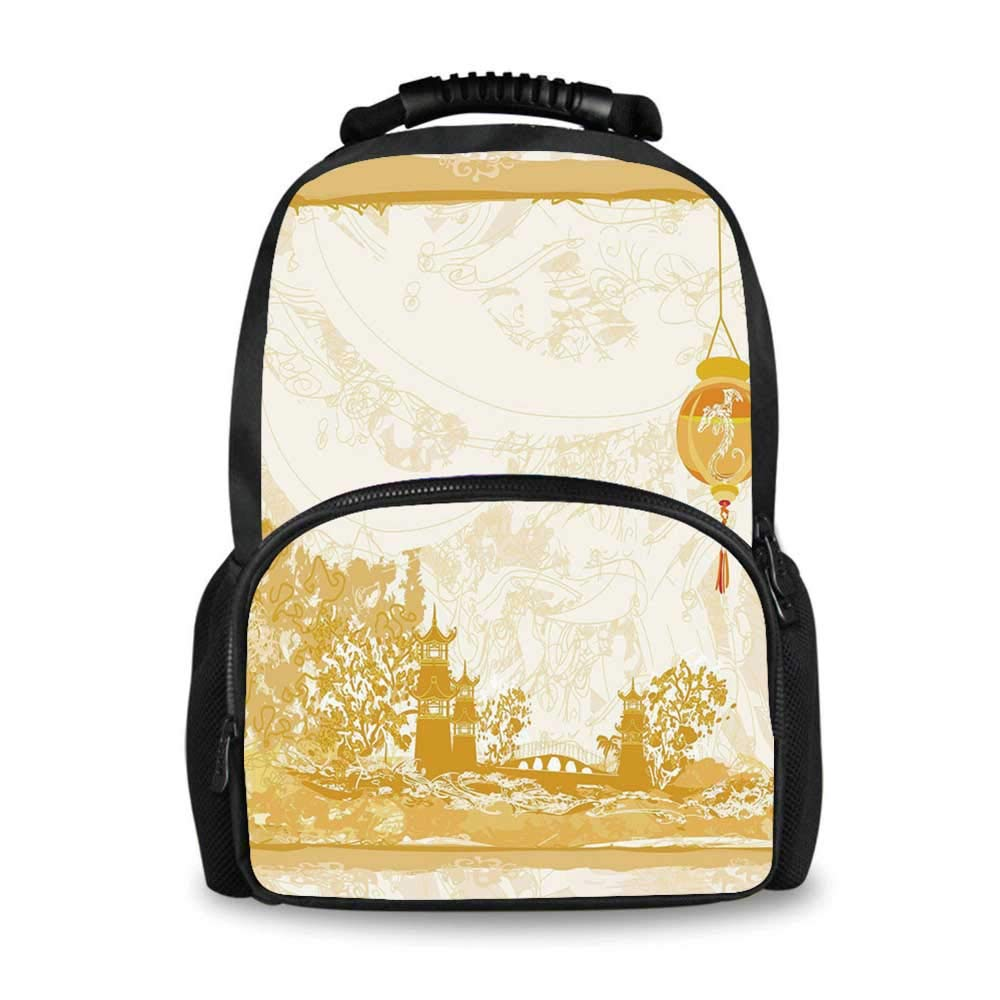 Lantern Adorable School Bag,Old Paper with Ancient Japanese Buildings Depicted on Asian Retro Style Samurai Decorative for Boys,12''L x 7''W x 17''H