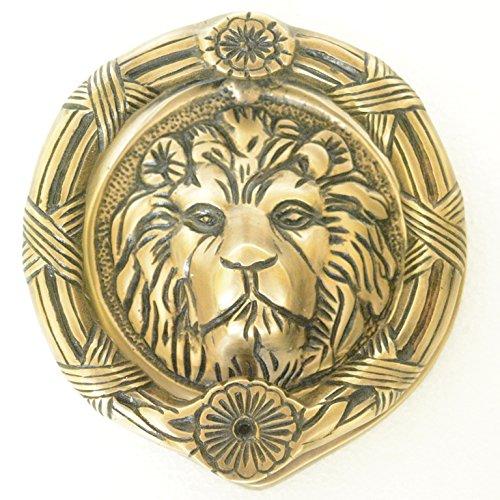 Lion Face Round Shape Door Knocker - Solid Brass Made Door Hardware - Antique Look