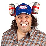 BigMouth Inc Merica Mullet Drinking Hat, Party Hat Holds Beer, Soda Cans, Reusable Straw and Built-in Mullet