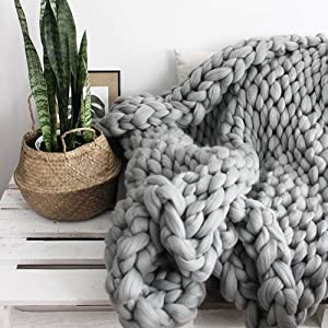 Chunky Knit Blanket for Bed Super Soft Chunky Knit Throw Blanket Chunky Knit Blanket for Your Bed Or Sofa Decor A Beautiful Chunky Blanket for Any Room (Light Gray, 47.2x59 Inch)