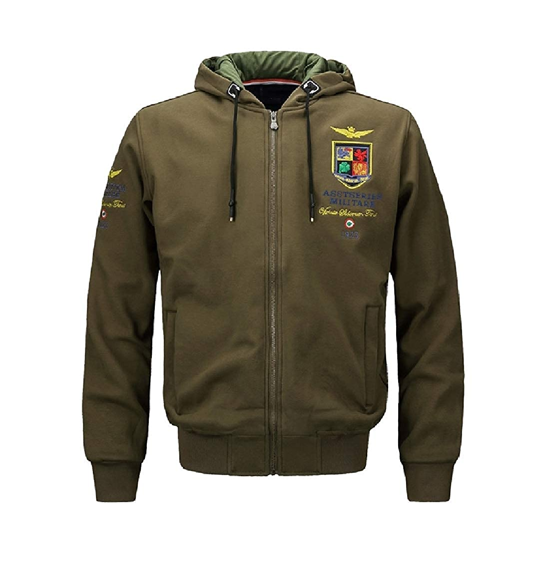 b69c19f299 Army Army Army Green Freely Men's Hood Leisure Athletic Embroidery Cotton  Coat Jacket bf1a14