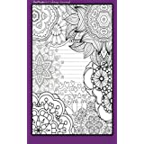 Coloring Journal (purple): Therapeutic journal for writing, journaling, and note-taking with coloring designs for inner peace, calm, and focus (100 pages, college ruled)
