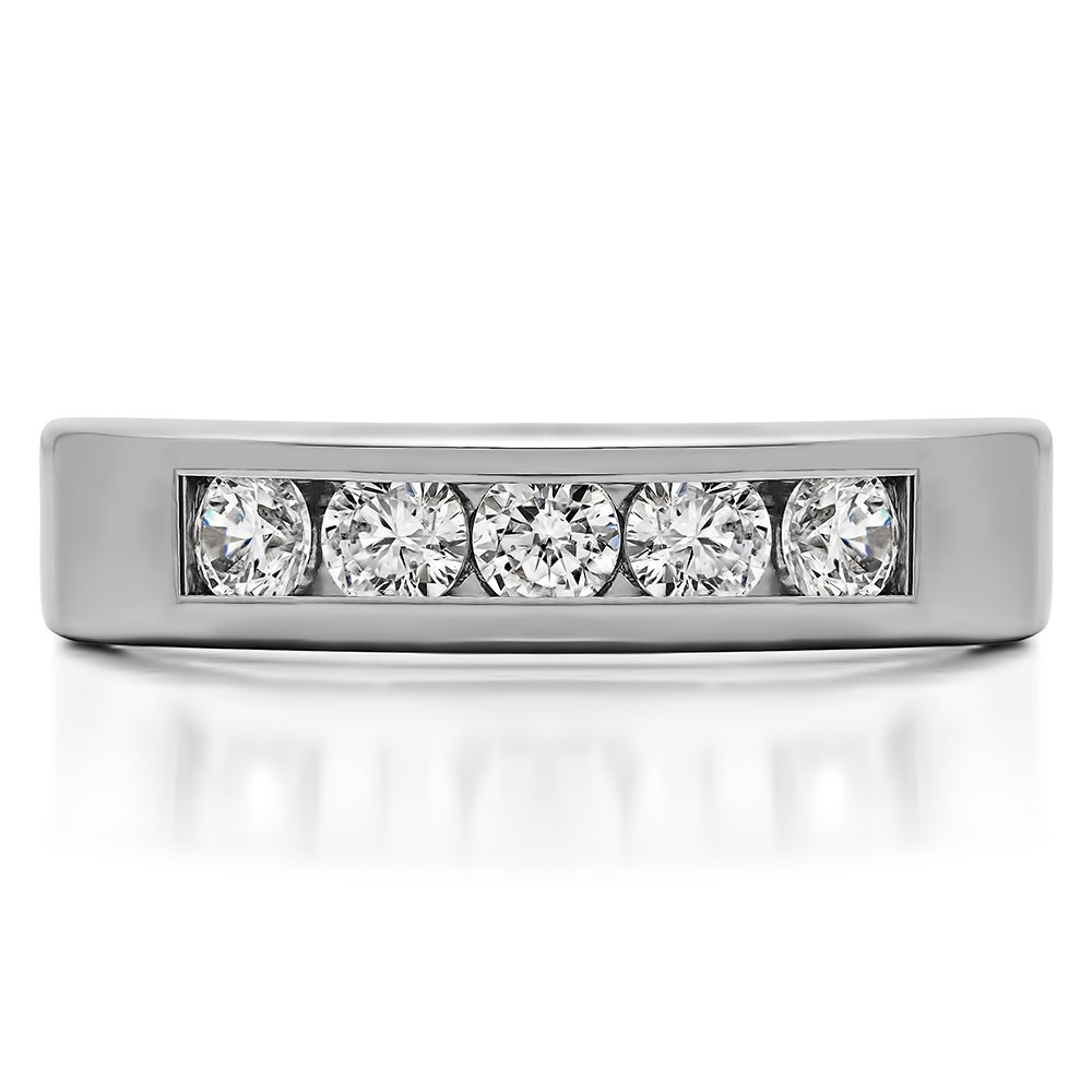 .1Ct Size 3 To 15 in 1//4 Size Intervals Silver Wedding Band Forever Brilliant Moissanite
