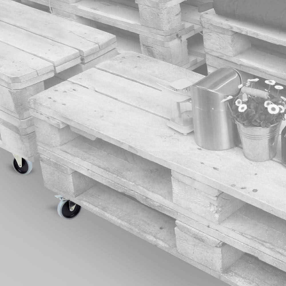 Emuca - Lote de 4 ruedas pivotantes para mueble Ø100mm con placa ...