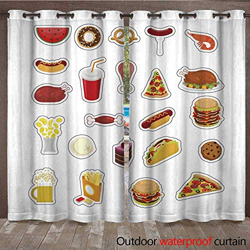 RenteriaDecor Outdoor Ultraviolet Protective Curtains Food Sticker Set Signs Meat Feed Icon Collection Pizza and Tacos French Fries and a Hamburger Hotdog and Cookies Baked t W96 x L108