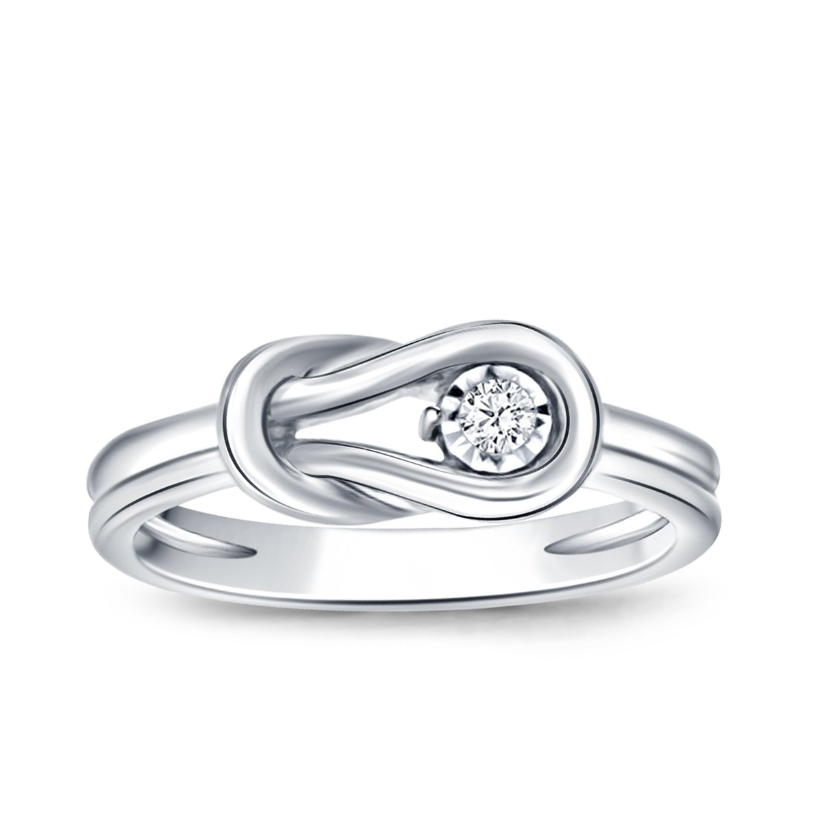 0.05ct Diamond Accent Love Knot Promise Ring in Sterling Silver (IJ/I2-I3) Women US4-US10