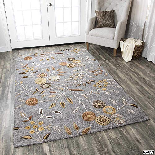 - Rizzy Home EH8636 Hand-Tufted Wool Blend Area Rug, 9' x 12', Grey/Gray/Rust/Blue