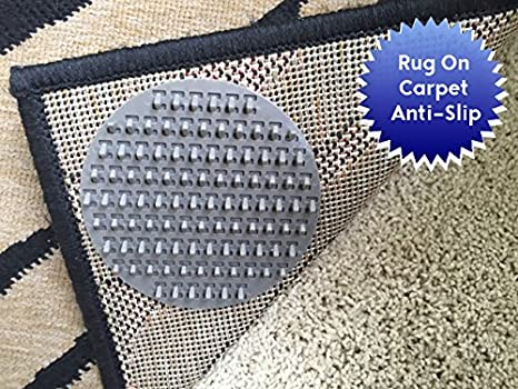 Panel antideslizante para fijar alfombras al suelo. Diseñado para moquetas medias. 4 unidades. Diseñado para limitar el movimiento de las alfombras de ...