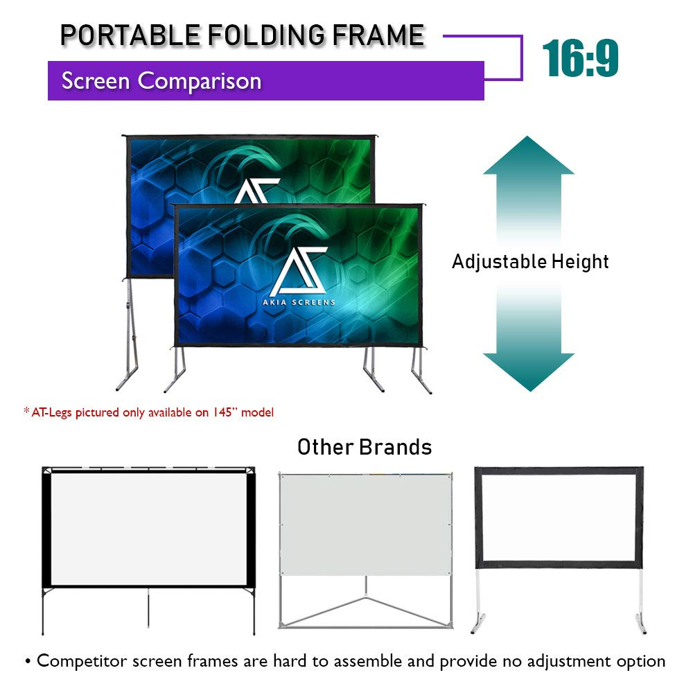 """Akia Screens 120/"""" Indoor Outdoor Portable Projector Screen with Stand 16:9 8K 4K Ultra HD 3D Ready Movie Theater Home Theater Adjustable Height Foldaway Easy Snap Aluminum Projection Screen AK-OS120H1"""