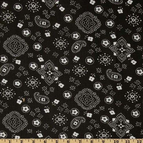 Richland Textiles 0268283 Bandana Prints Black Fabric by The Yard, ()