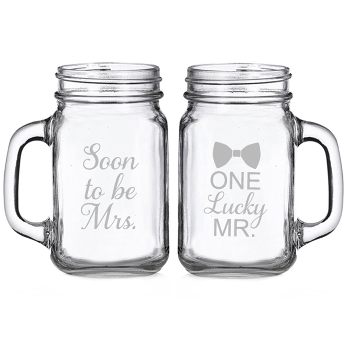 Soon To Be Mrs. And One Lucky Mister Engraved Glass Mason Mugs (set of 2)