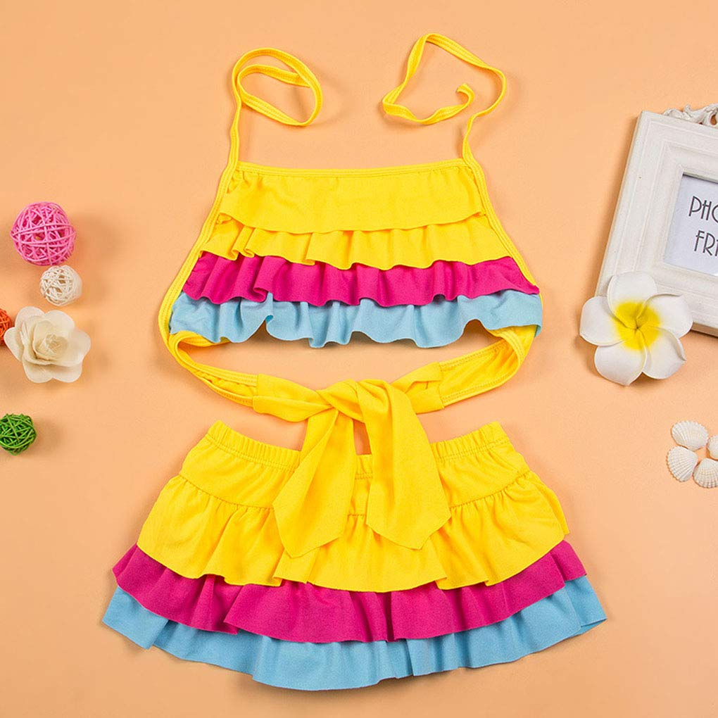 Paciffico Girls Kids Tankini Set Swimsuit Two Piece Colorful Rainbow Cake Skirt Bathing Suit Swimwear bench wear Age 6-12 Years