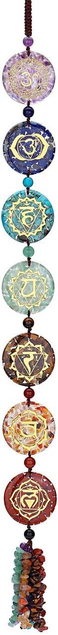 Top Plaza 7 Chakra Stones Hanging Ornament Chakra Symbols Healing Crystals Wall Decoration for Yoga Meditation